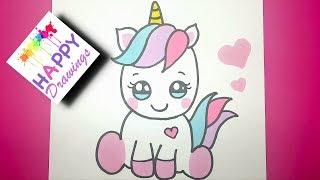 unicorn drawing draw kawaii drawings easy cartoon einhorn paso unicornio dibujos emoji malen happy simple tutorial imagenes