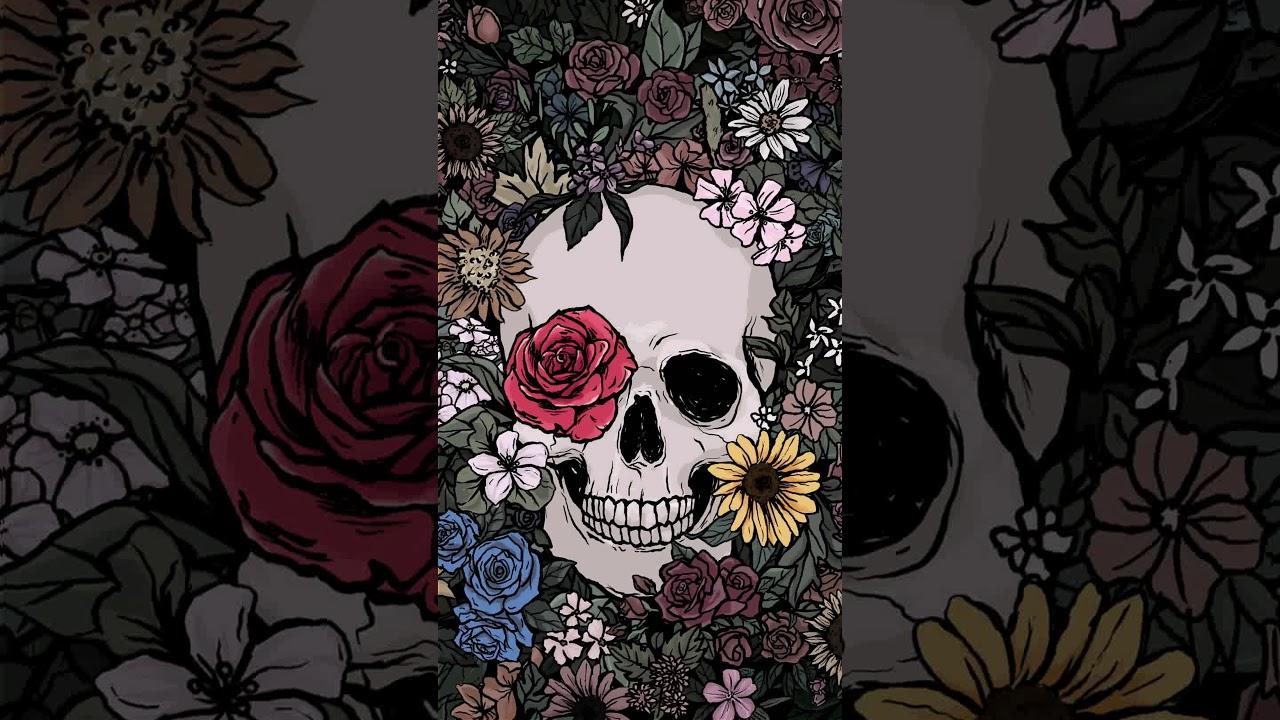 Skull Of Flower Garden Moh Animated Wallpaper