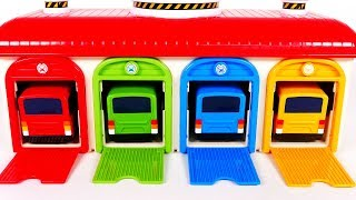Learn Colors with Bus Toys and Garage Parking Playset for Kids