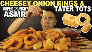 [ASMR] CHEESY ONION RINGS & TATER TOTS-EXTREME CRUNCH
