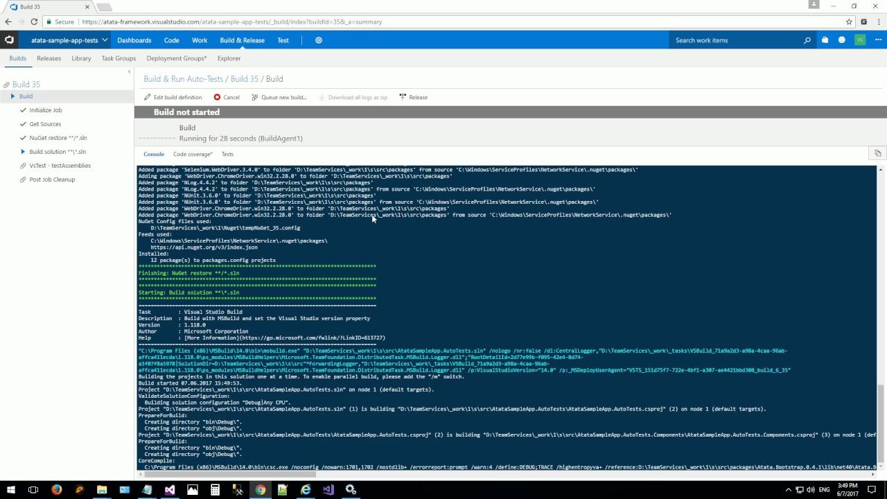 Visual Studio Team Services Configuration - Atata