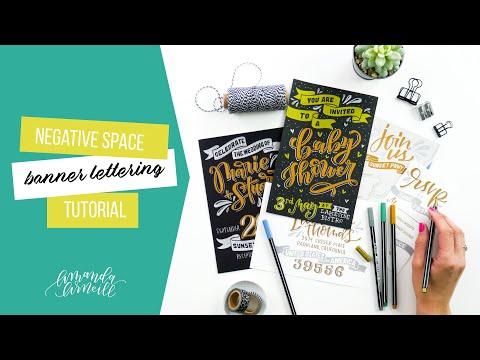 Negative Space Banner Lettering Tutorial Feat. STABILO Pen 68 Metallic - Amanda Arneill
