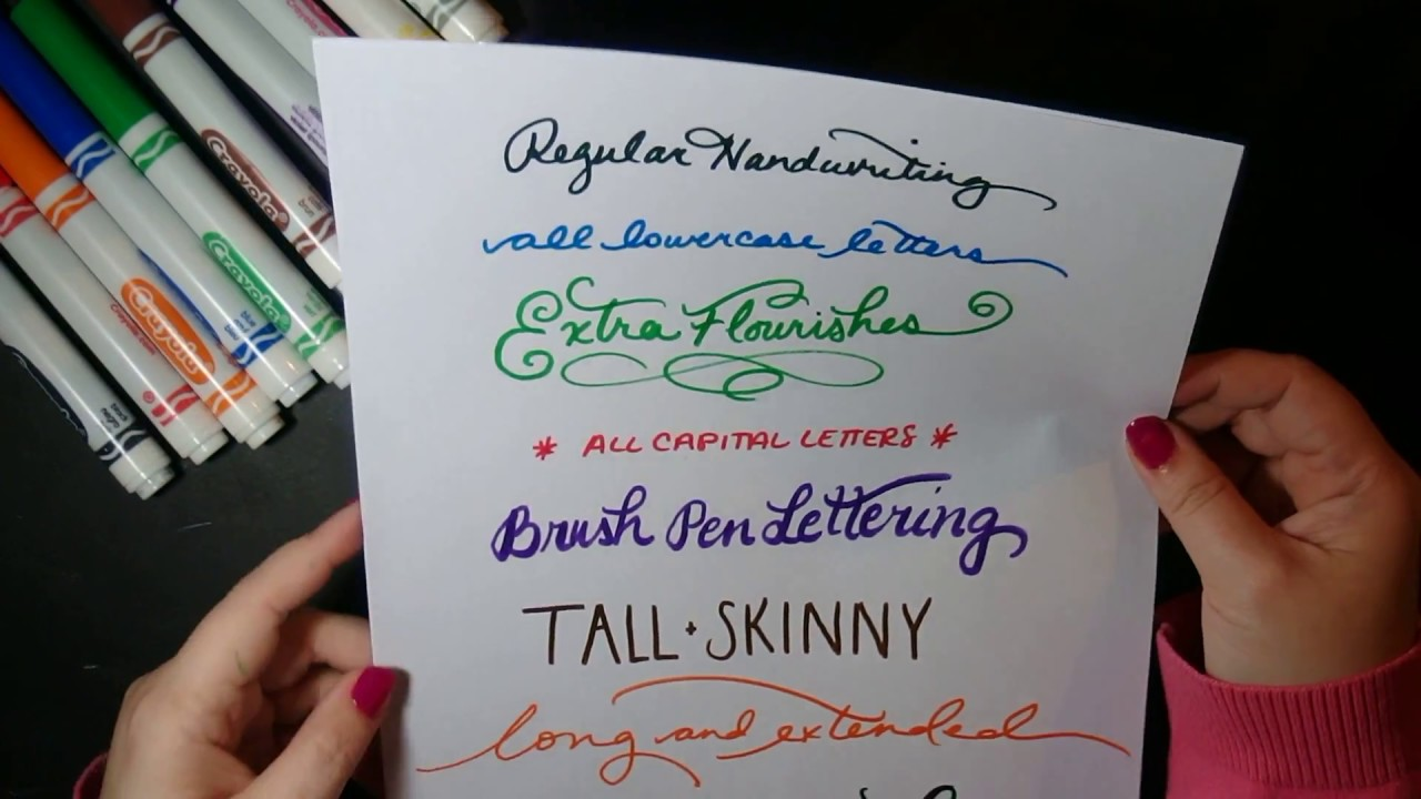 8 different lettering styles using crayola markers youtube