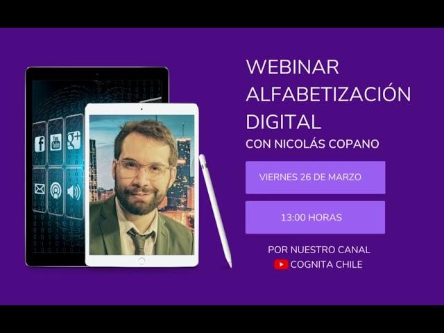 Invitación Webinar Alfabetización Digital, con Nicolás Copano