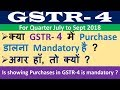 Is Showing Purchases in GSTR 4 mandatory ? क्या GSTR- 4 में Purchase डालना Mandatory है ?