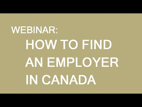 How to find an employer in Canada. Webinar for Asia