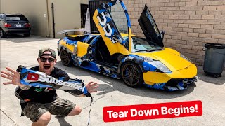 TEARING THE LAMBORGHINI MURCIELAGO APART IS SO SATISFYING! *NEW WRAP*