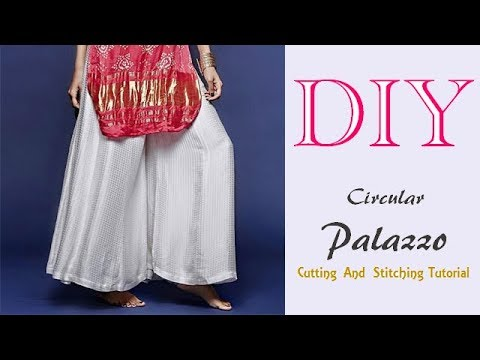 Diy Circular Palazzo Divided Skirt Wide Leg Trousers Cutting And