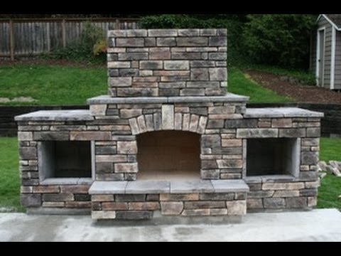 Diy building an outdoor fireplace youtube for Outside fireplace plans