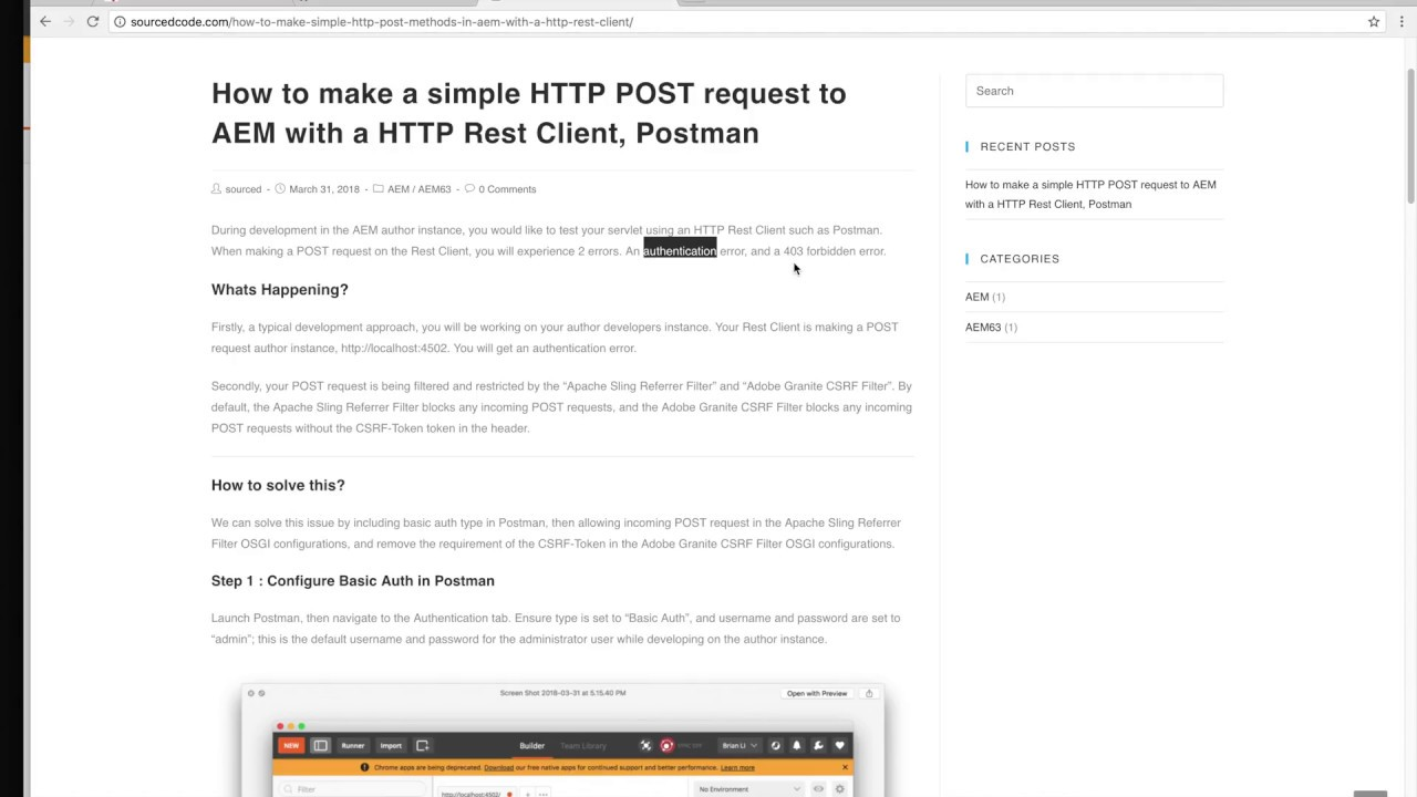 How to make a simple HTTP POST request to AEM with a HTTP Rest