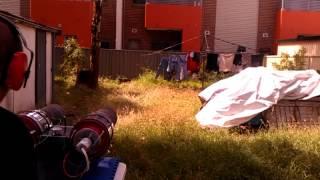 Jet powered street luge: My neighbors love me.