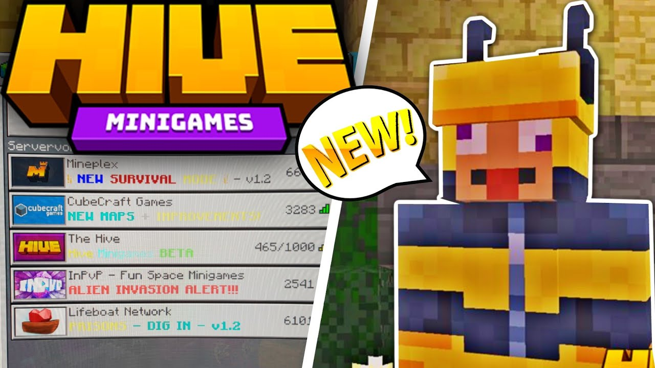 Hive Mc Official New Bedrock Server Mcpe New Minigame Server Minecraft Pe Server Review Youtube