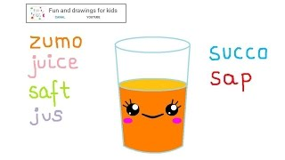 How to draw a kawaii orange juice with song and languages