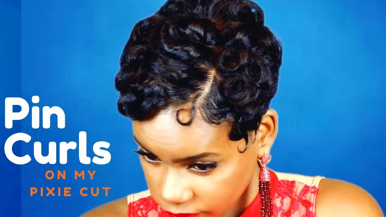 Pin Curls On My Pixie Cut Relaxed Short Hair Hair Tutorial Leann Dubois Youtube