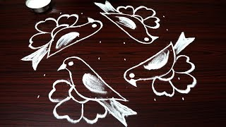 simple bird rangoli designs with 6x6 dots for beginners | small kolam designs | easy muggulu