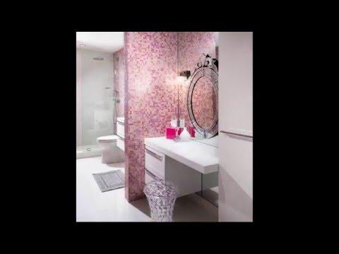Розовая плитка в ванной комнате
