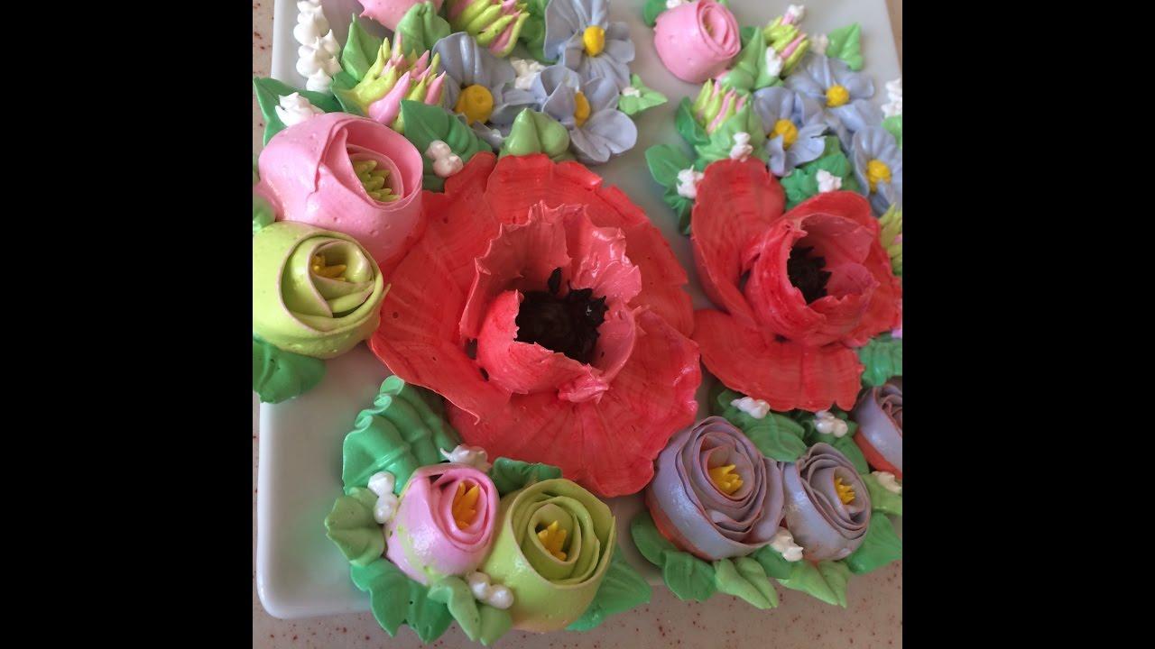 Сделать цветы из белкового крема