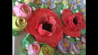 Как сделать цветы из крема / How to make cream flowers
