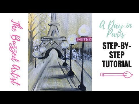 Paris Eiffel Tower Landscape Painting | Easy Acrylic Tutorial for Beginner