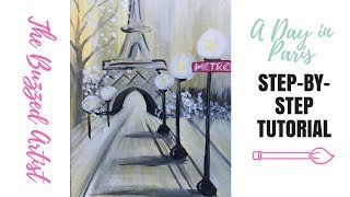 Paris Eiffel Tower Landscape Painting Easy Acrylic Tutorial for Beginner