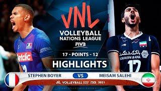 France vs Iran | VNL 2021 | Highlights | Stephen Boyer vs Meisam Salehi
