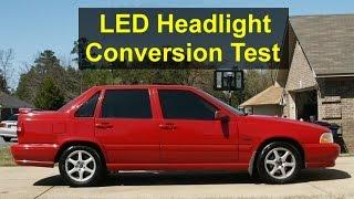 led h7 headlight bulb installation and test in volvo s70 v70 etc votd
