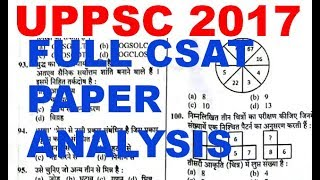 UPPSC 2017 CSAT QUESTION PAPER & ANSWER KEY || UPPCS SOLVED PAPER ANALYSIS || ANSWER KEY || CUTOFF |