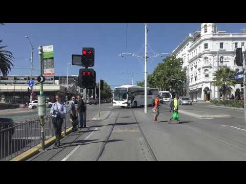 4K- Melbourne Tram Driver View  - 2018 Update Route 96 From St Kilda Beach