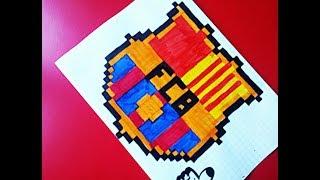 Как нарисовать по клеточкам эмблему Барселоны.PIXEL ART