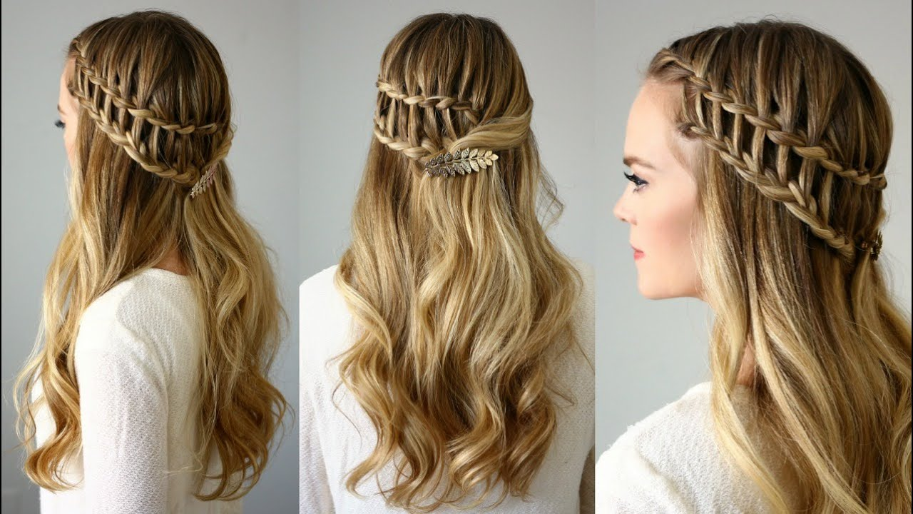 Half updos for long hair step by step