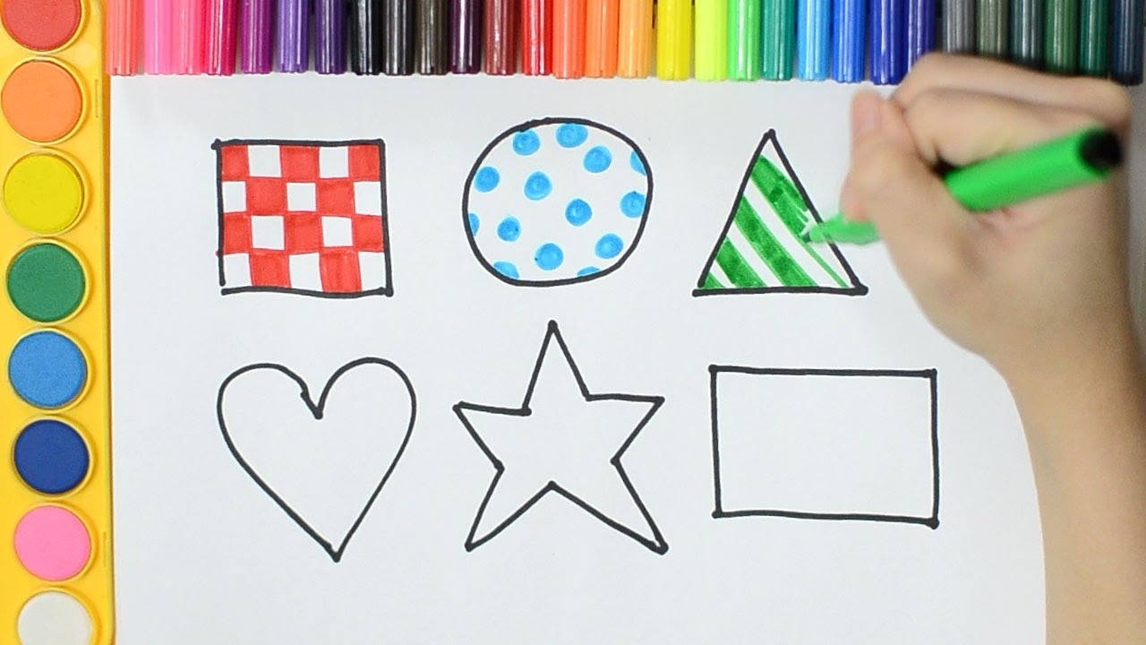 Learning How To Draw and Colour SHAPES in Patterns for Kids with
