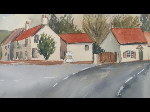 Watercolour landscape painting demonstration