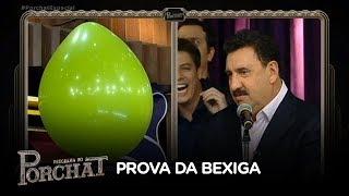 Fábio Porchat desafia Ratinho na Prova da Bexiga