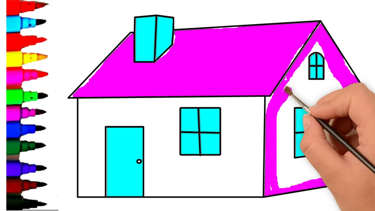 How to Draw and Colour a House | How to Draw House for Kids ...