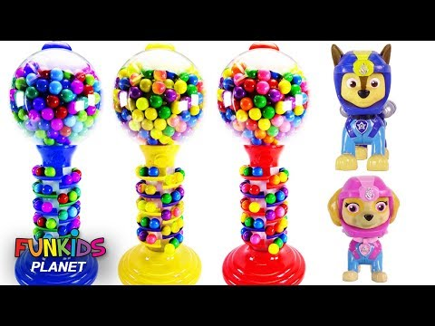 Thumbnail: Learn Colors Magical Rainbow GUMBALL BANK Candy Dispenser with PJ MASKS & Paw Patrol | Fun Kid Toys