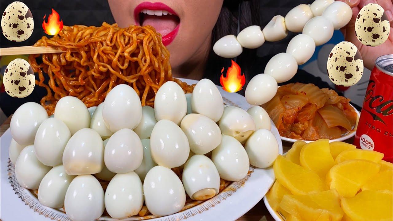 ASMR FIRE NOODLES + MASSIVE EGG FEAST 먹방 MUKBANG Eating sounds