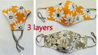 2in1 3 Layers Easy Pattern Mask Face Mask Sewing Tutorial Anyone Can Make This Mask Mascarilla