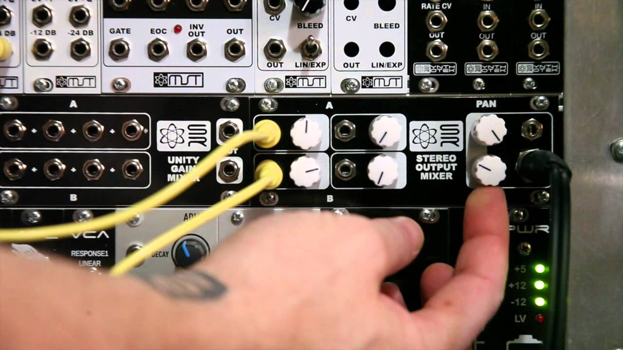 synthrotek eurorack 1u stereo output mixer diy kit modular synth youtube. Black Bedroom Furniture Sets. Home Design Ideas