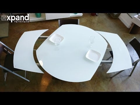 Baobab round white glass extendable kitchen table on wood base