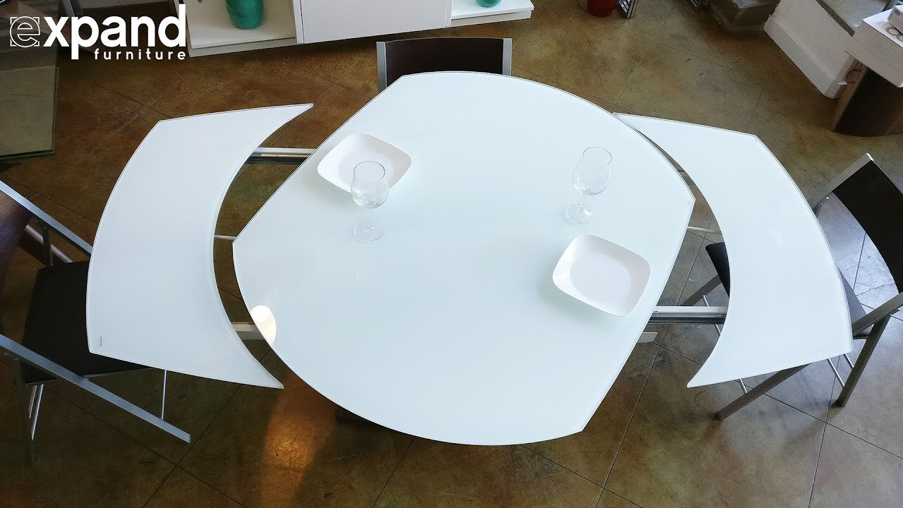 Round Glass Kitchen Table Island With Butcher Block Baobab White Extendable On Wood ...
