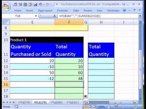 YTLE#79 Formula for Running Total (Inventory) - YouTube
