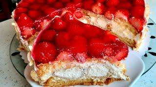Einfache Windbeutel Torte mit Erdbeeren traumhaft Торт профитроли с клубникой