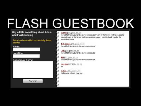 Flash Website Guestbook AS3 MySQL Tutorial And Free Editable Source Files
