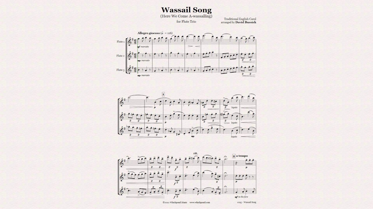wassail song for flute trio christmas sheet music - youtube  youtube
