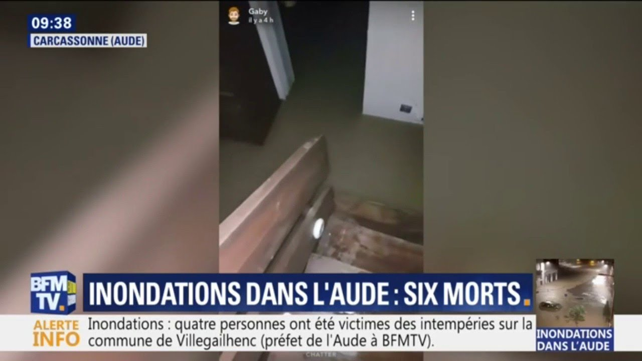 Un habitant de Carcassonne filme son domicile inondé après les pluies diluviennes