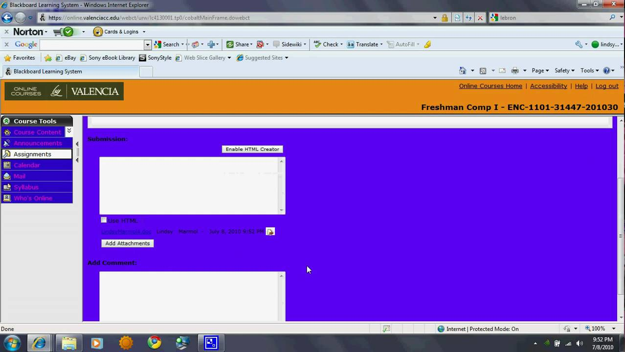 how to submit on valencia webctblackboard