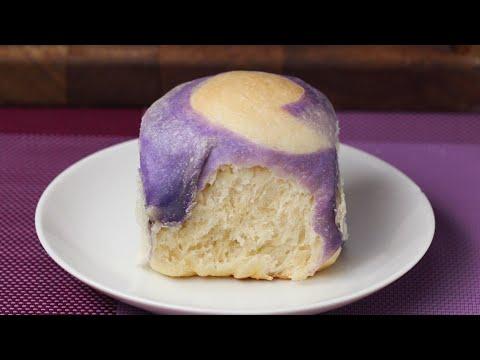 Pull-Apart Marbled Taro Bread •Tasty