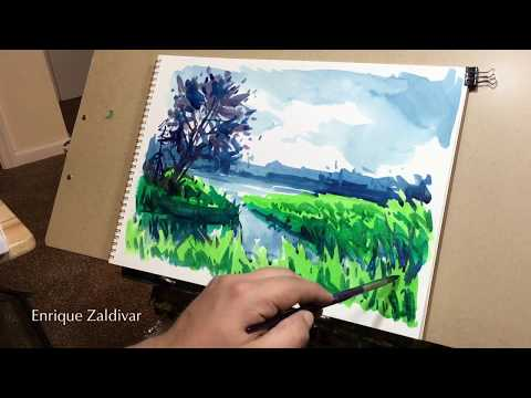 Watercolor landscape, Painting techniques, Watercolor painting sketch, Enrique Zaldivar