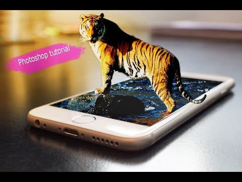 LIVE Photoshop Tutorial How to Make 3D Iphone Manipulation Tiger | thumbnail