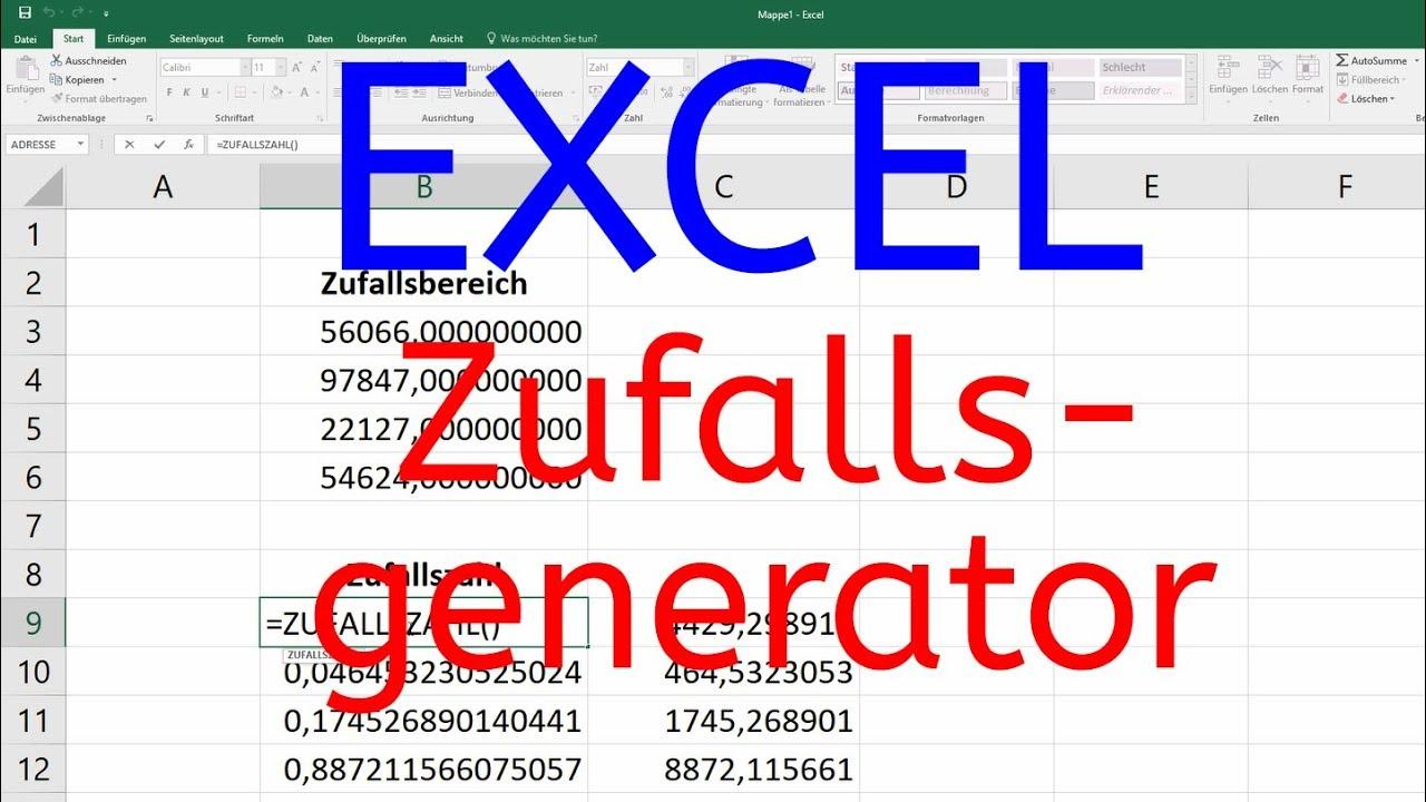 Zufallsgenerator Excel